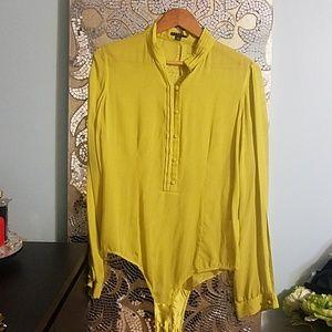 Chartreuse chiffon bodysuit